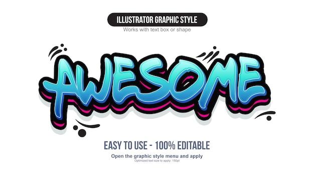 Neon niebieski efekt kaligrafii graffiti 3d
