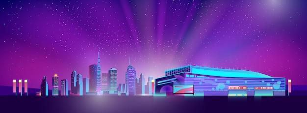 Neon oświetlony supermarket poza miastem