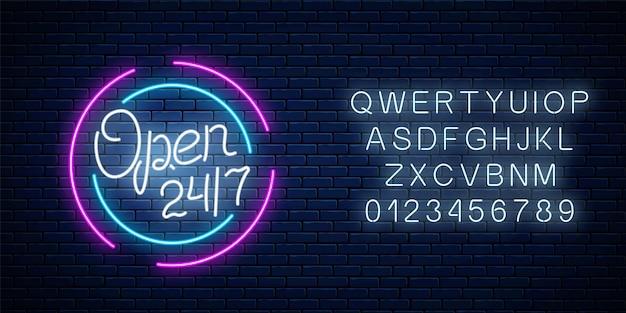 Neon otwarty 24 godziny 7 dni znak w kształcie koła z alfabetem. całodobowy pasek roboczy lub szyld sklepu