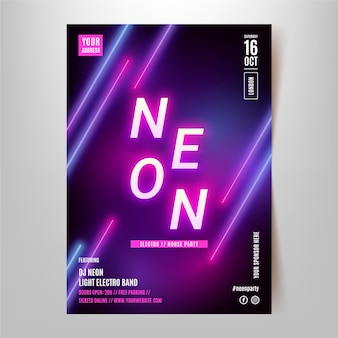 Neon party pionowy plakat szablon