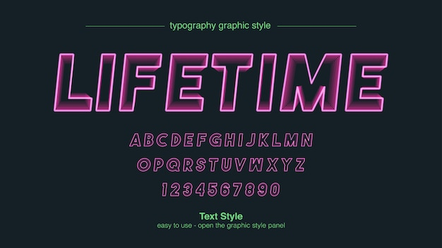Neon pink stroke line blend typography