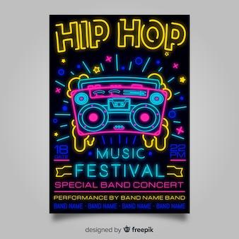 Neon plakat festiwal muzyczny szablon