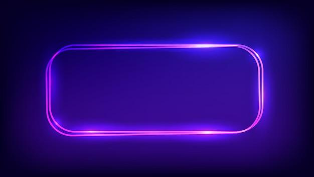 Neon podwójnie zaokrąglona prostokątna ramka z błyszczącymi efektami na ciemnym tle. puste świecące tło techno. ilustracja wektorowa.
