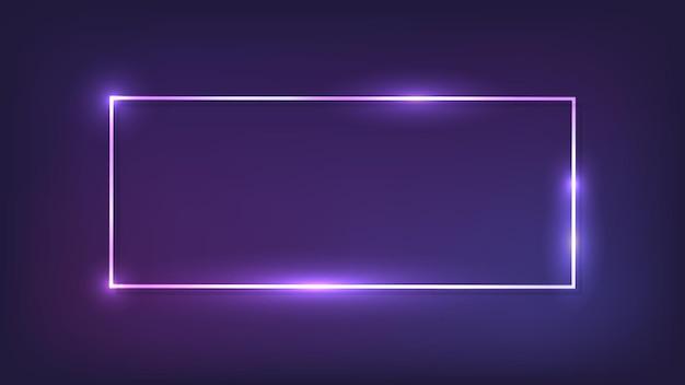 Neon prostokątna ramka z błyszczącymi efektami na ciemnym tle. puste świecące tło techno. ilustracja wektorowa.