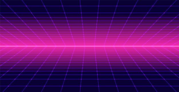 Neon retro tło 3d krajobraz lat 80-tych