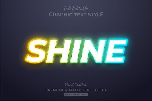 Neon shine edytowalny efekt niestandardowego stylu tekstu premium