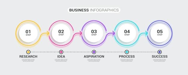 Neon streszczenie cienka linia 3d infographic szablon z 5 krokami.