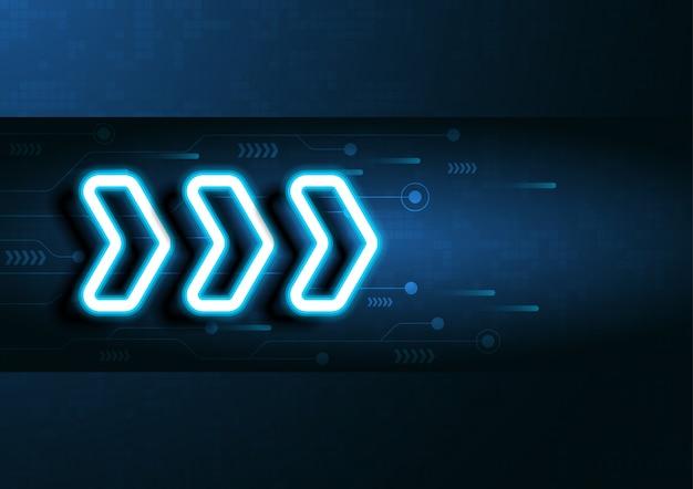 Neon strzałka prędkości i technologii danych ładowania streszczenie z kolorowym tle wektora projektowania