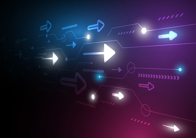 Neon strzałka prędkości i technologii danych ładowania streszczenie z kolorowym tłem