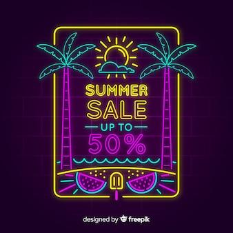 Neon światła lato sprzedaż transparent