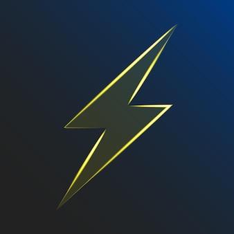 Neon świecące błyskawice na ciemnym tle. znak elektryczny. ryzyko porażenia prądem. elektryczność atmosferyczna. ilustracja wektorowa. eps10.