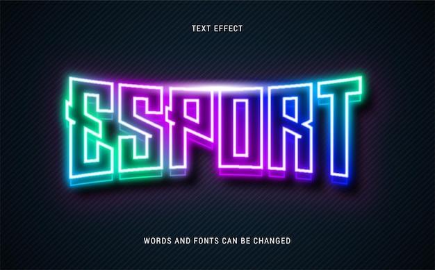 Neon świecący efekt tekstowy esport edytowalny eps cc