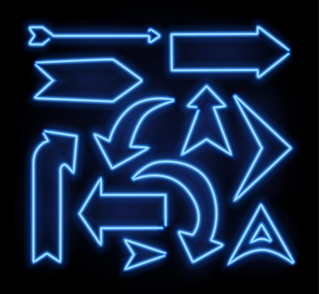 Neon świecący wskaźnik strzałki ustawiony na ciemnym tle. kolorowa i lśniąca kolekcja retro znak świetlny.