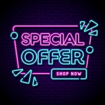 Neon świecący znak sprzedaży