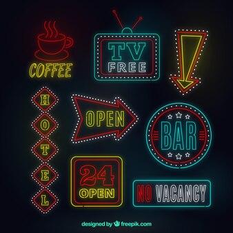 Neon świeci znaków z czerwonym szczegóły