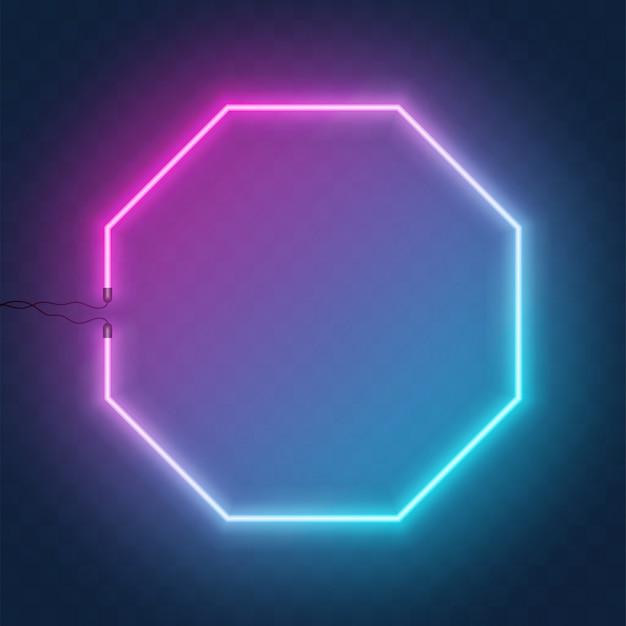 Neon sześciokątny znak