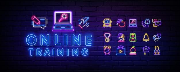 Neon szkoły online. neonowe ikony na temat szkoły.