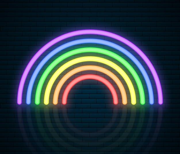 Neon tęczowy znak lgbt. miesiąc dumy lgbt. lesbian gay bisexual transgender. koncepcja miłości tęczy. prawa człowieka i tolerancja. ilustracja na białym tle na ceglany mur