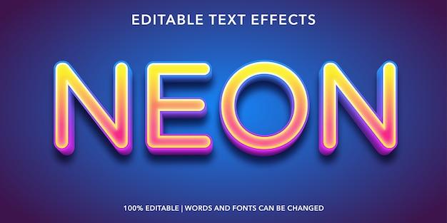 Neon text edytowalny efekt tekstowy w stylu 3d