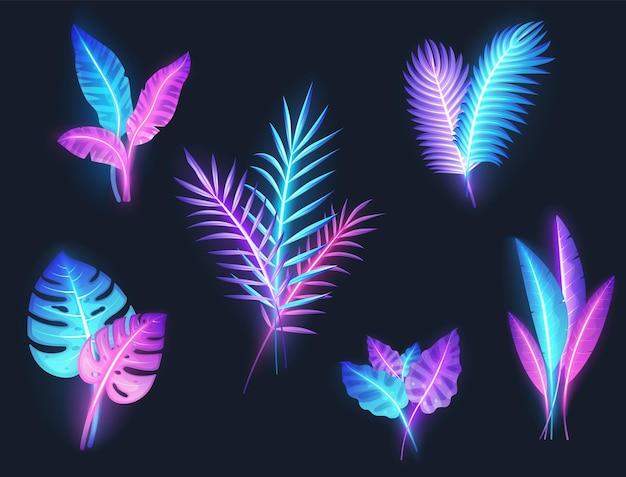 Neon tropikalny banan, rośliny monstera, zestaw liści egzotycznych palm, wektor ilustracja na białym tle. letnie wakacje na plaży.