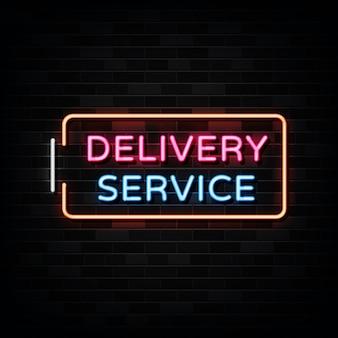 Neon usługi dostawy, szablon neon