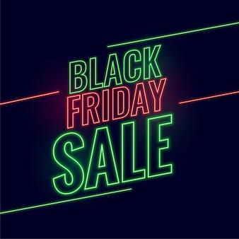 Neon w stylu czarny piątek sprzedaż świecące tło