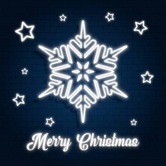 Neon wesołych świąt bożego narodzenia szablon