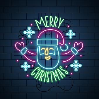 Neon wesołych świąt i szczęśliwa twarz santa
