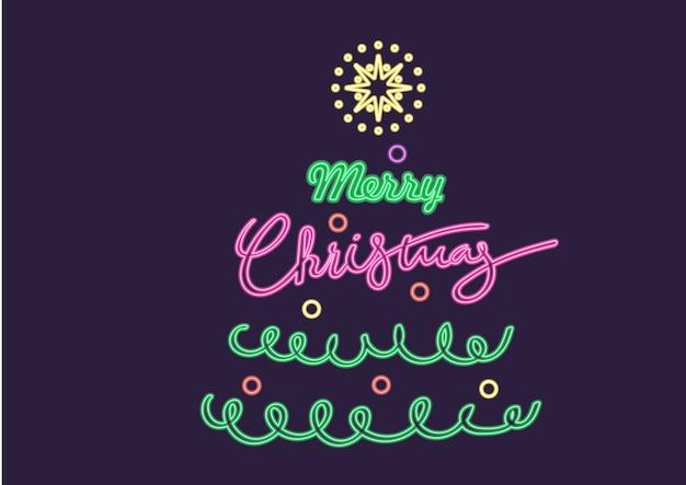 Neon wesołych świąt i szczęśliwego nowego roku projektowania ilustracji