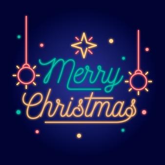 Neon wesołych świąt z płatki śniegu i bombki