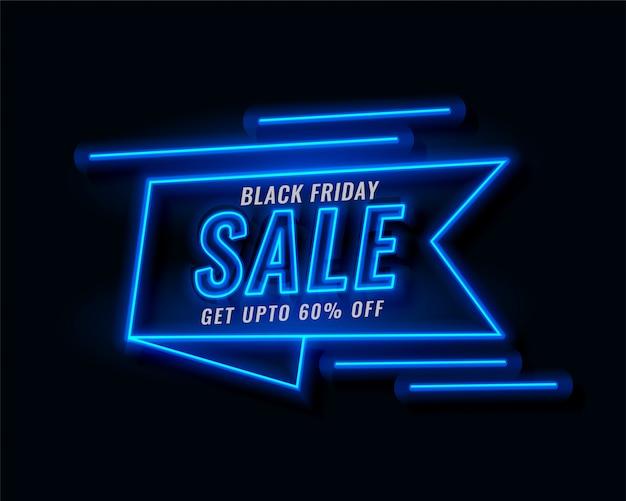 Neon wstążka banner czarny piątek sprzedaż