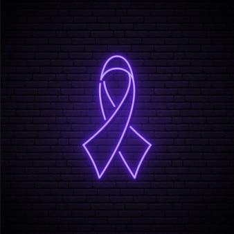 Neon z fioletową wstążką