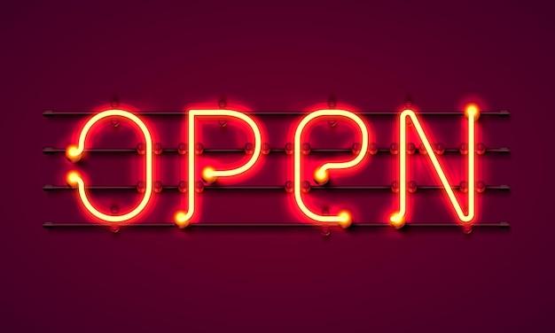 Neon z tekstem otwartym, wejście jest dostępne. ilustracja wektorowa