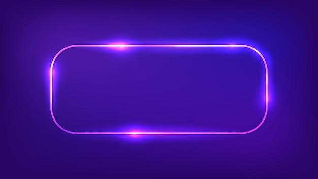 Neon zaokrąglona prostokątna ramka z błyszczącymi efektami na ciemnym tle. puste świecące tło techno. ilustracja wektorowa.