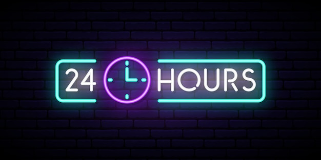 Neon znak 24 godziny.