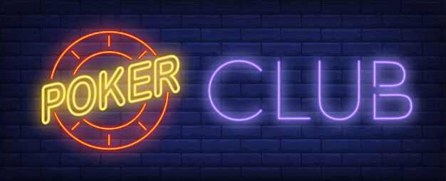 Neon znak klubu pokerowego