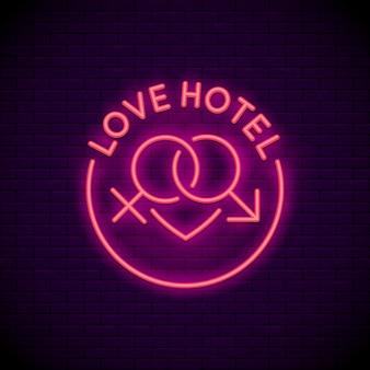Neon znak logo hotelu miłości