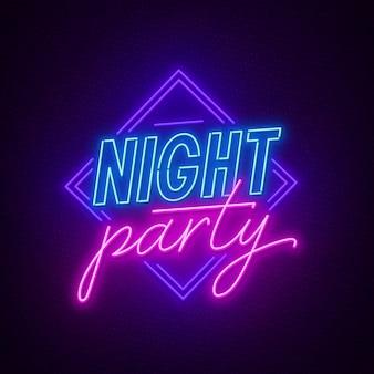 Neon znak nocna impreza na ciemnym tle.