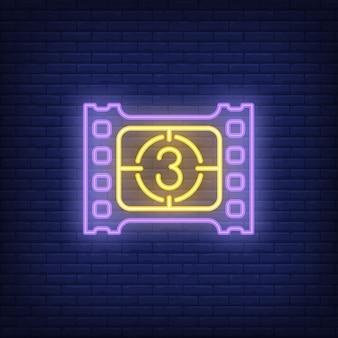 Neon znak rama filmu