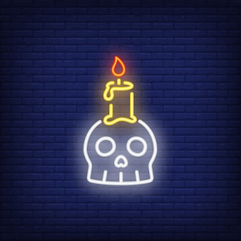 Neon znak świecy scull