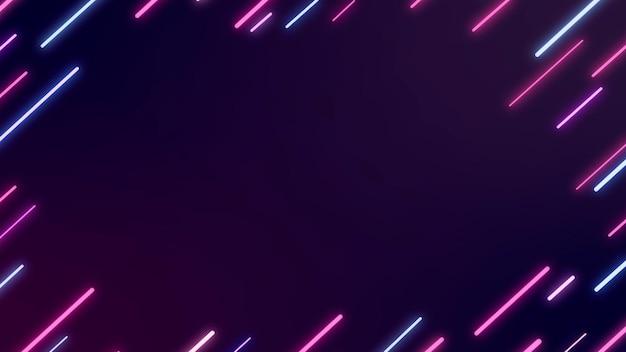 Neonowa abstrakcyjna ramka na ciemnofioletowym banerze blogowym wektorze
