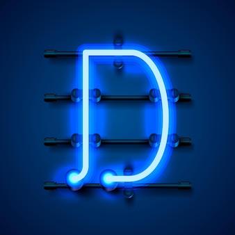 Neonowa czcionka litera d, szyld projektu artystycznego. ilustracja wektorowa