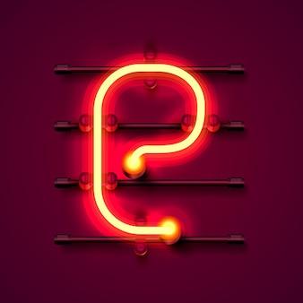 Neonowa czcionka litera e, szyld projektu artystycznego. ilustracja wektorowa
