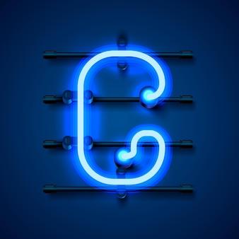 Neonowa czcionka litera g, szyld projektu artystycznego. ilustracja wektorowa