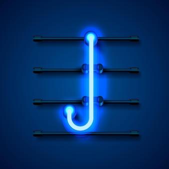 Neonowa czcionka litera j, szyld sztuki projektowania. ilustracja wektorowa