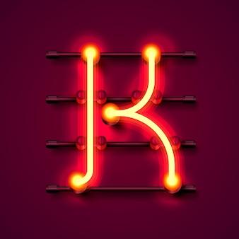 Neonowa czcionka litera k, szyld projektu artystycznego. ilustracja wektorowa