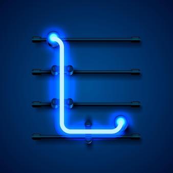 Neonowa czcionka litera l, szyld projektu artystycznego. ilustracja wektorowa
