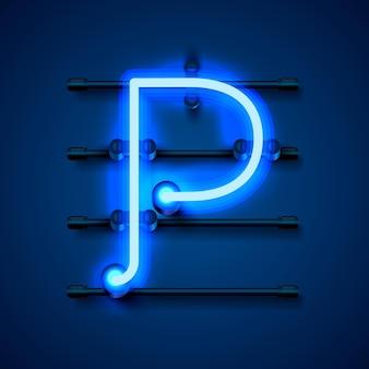 Neonowa czcionka litera p, szyld projektu artystycznego. ilustracja wektorowa
