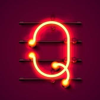 Neonowa czcionka litera q, szyld projektu artystycznego. ilustracja wektorowa