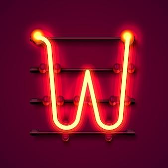 Neonowa czcionka litera w, szyld projektu artystycznego. ilustracja wektorowa